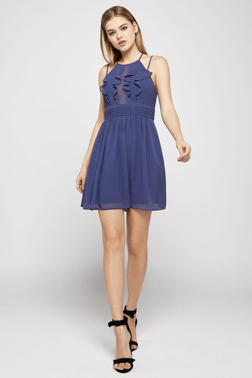 Womens Ruffled Pintuck Cocktail Dress, Blue Smoke