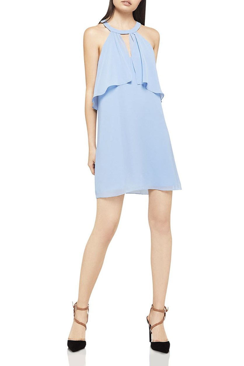 Women's Flounced Chiffon Shift Dress, Blue