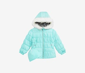 Weathertamer Little Girls Quilted Puffer Jacket & Matching Hat Set, Aqua