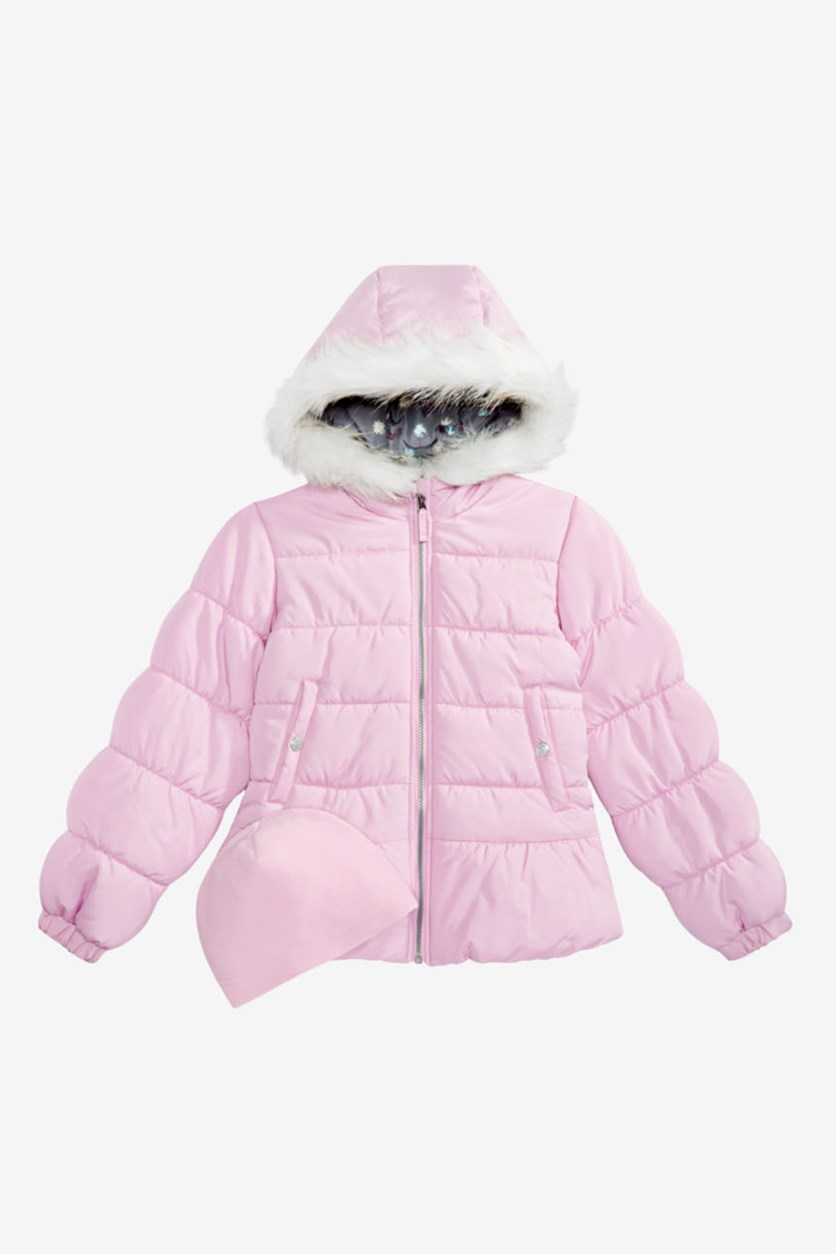 Little Girls Quilted Puffer Jacket & Matching Hat Set, Pink