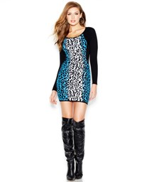 Guess Women's Leopard Print  Bodycon Dress, Black/Blue/White
