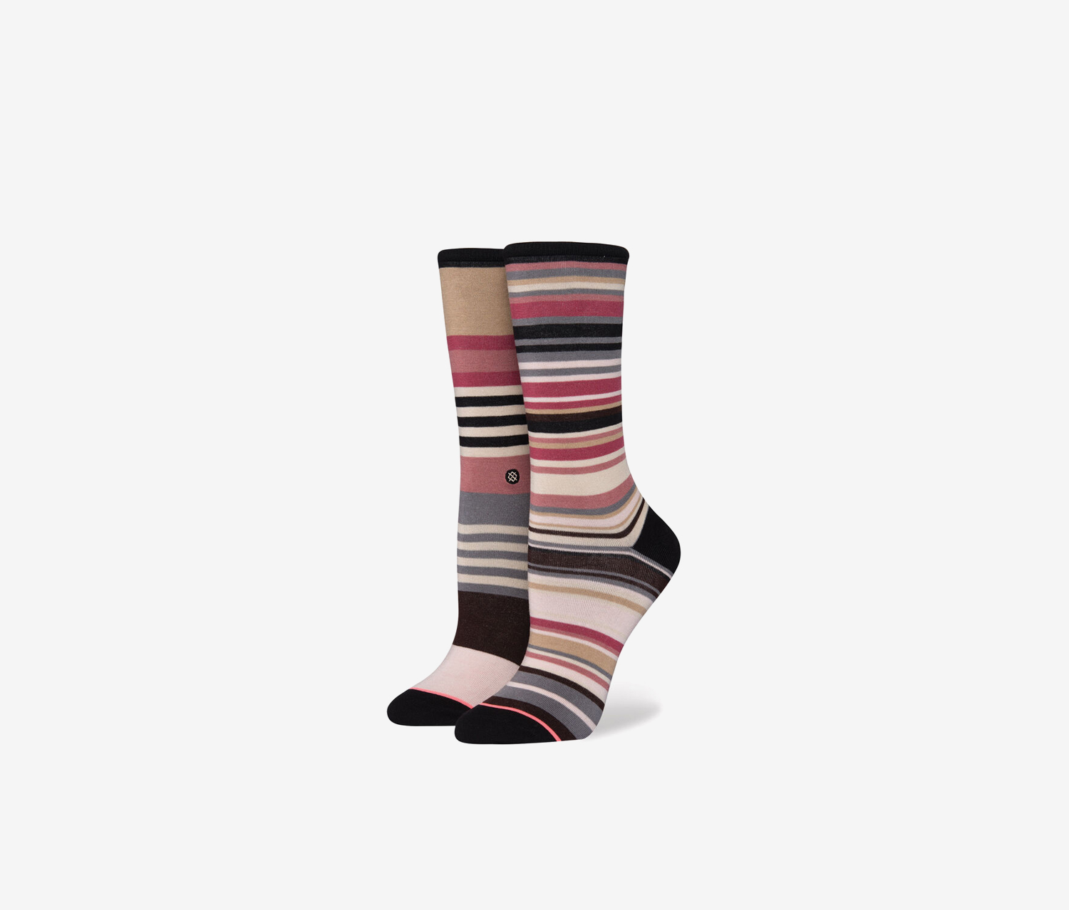Women's Crescent Crew Socks, Black/Pink/Grey/Cream