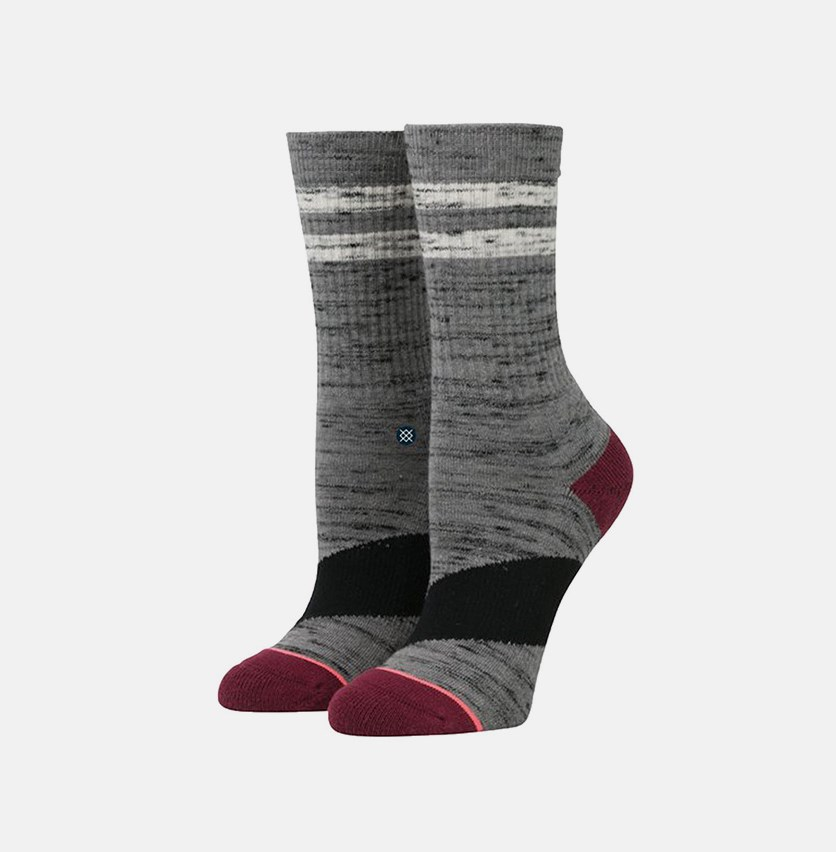Women's Stripe Crew Socks, Grey Heather