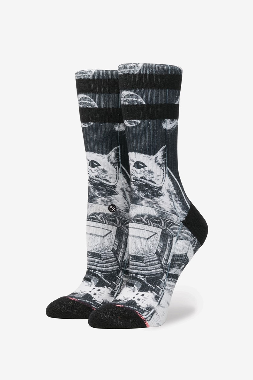 Women's Punker Skunker Crew Socks, Black Combo