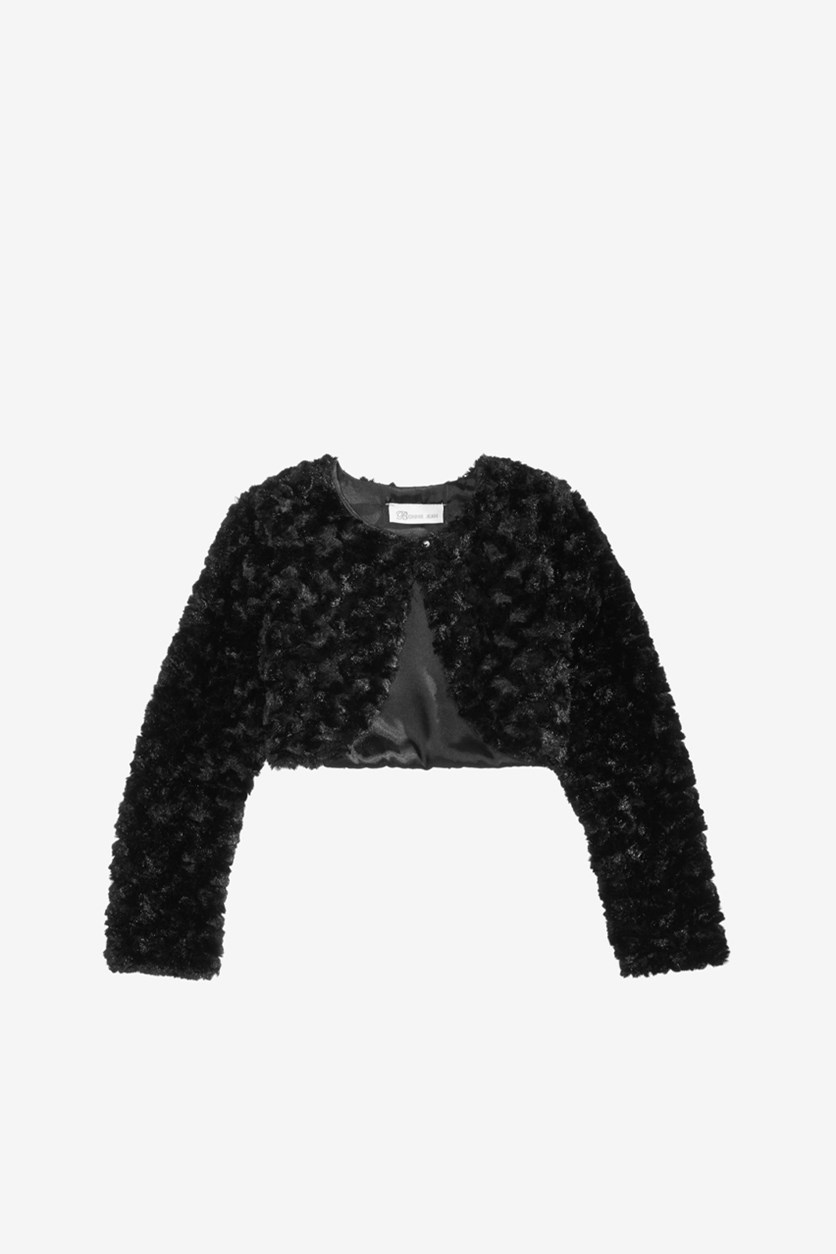 Toddler Girls Faux Fur Shrug, Black