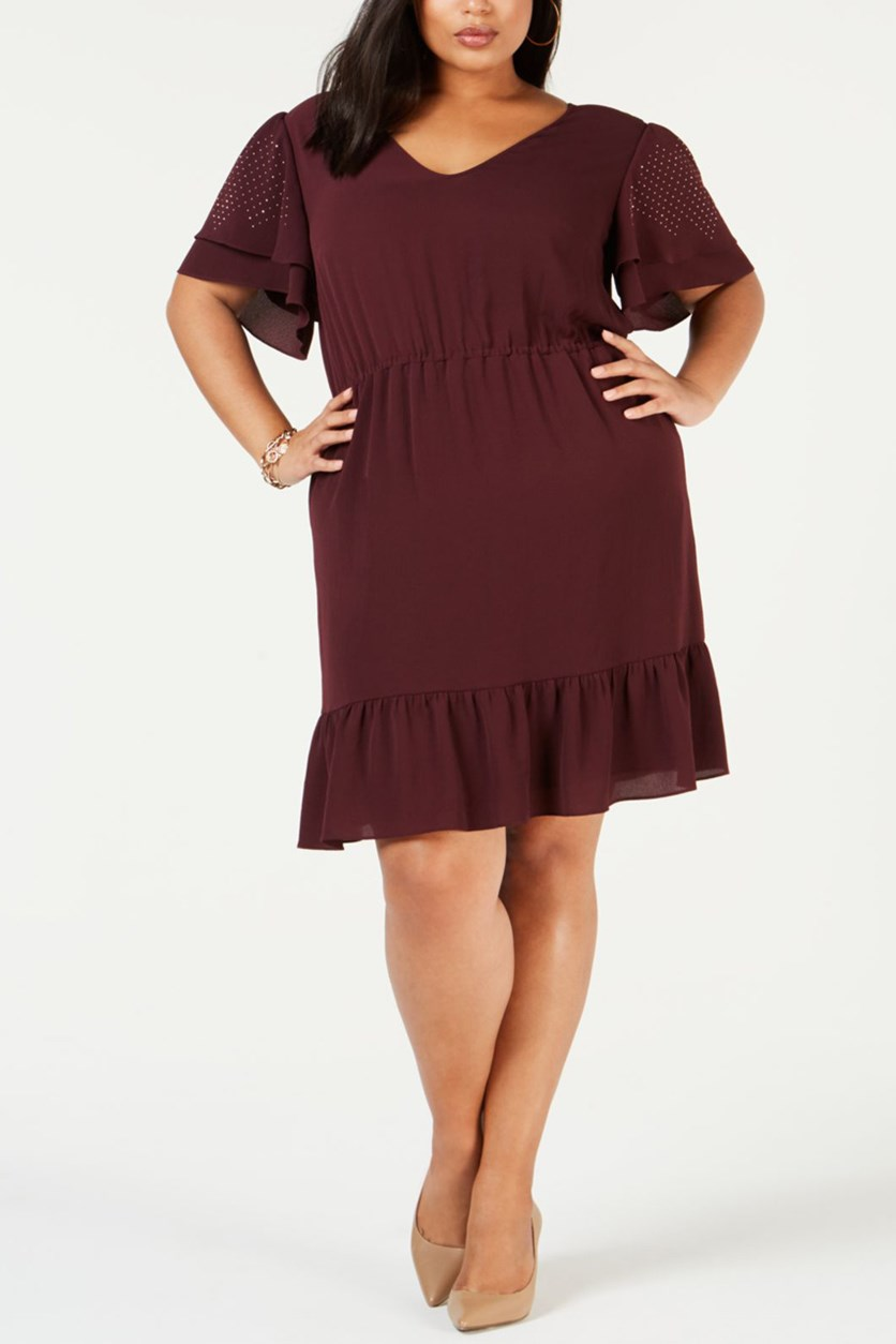 Plus Size Ruffled Dress, Maroon