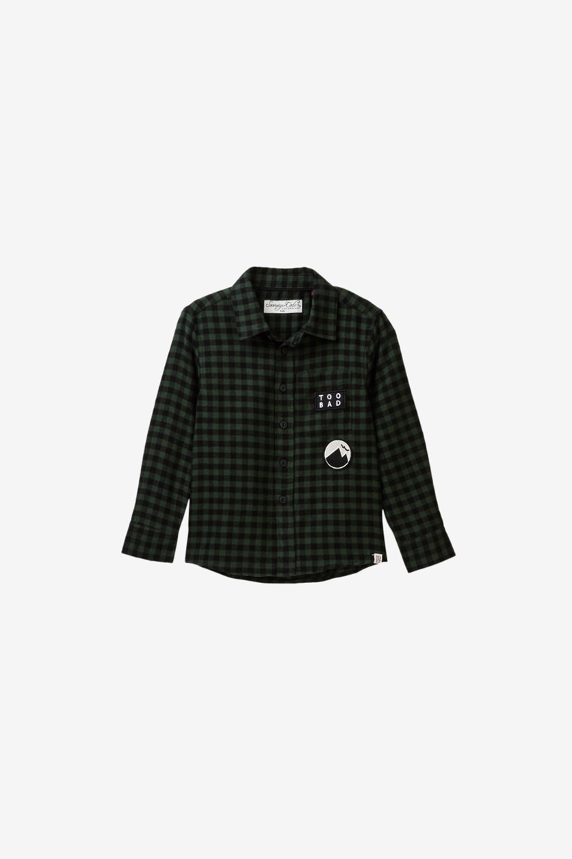 Little Boys Bowmore Shirt, Green Check