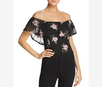 Band of Gypsies Women's Embroidered Off-The-Shoulder Bodysuit, Black