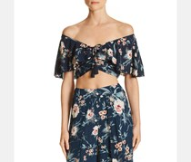 Band of Gypsies Alma Off-the-Shoulder Crop Top, Navy Blush