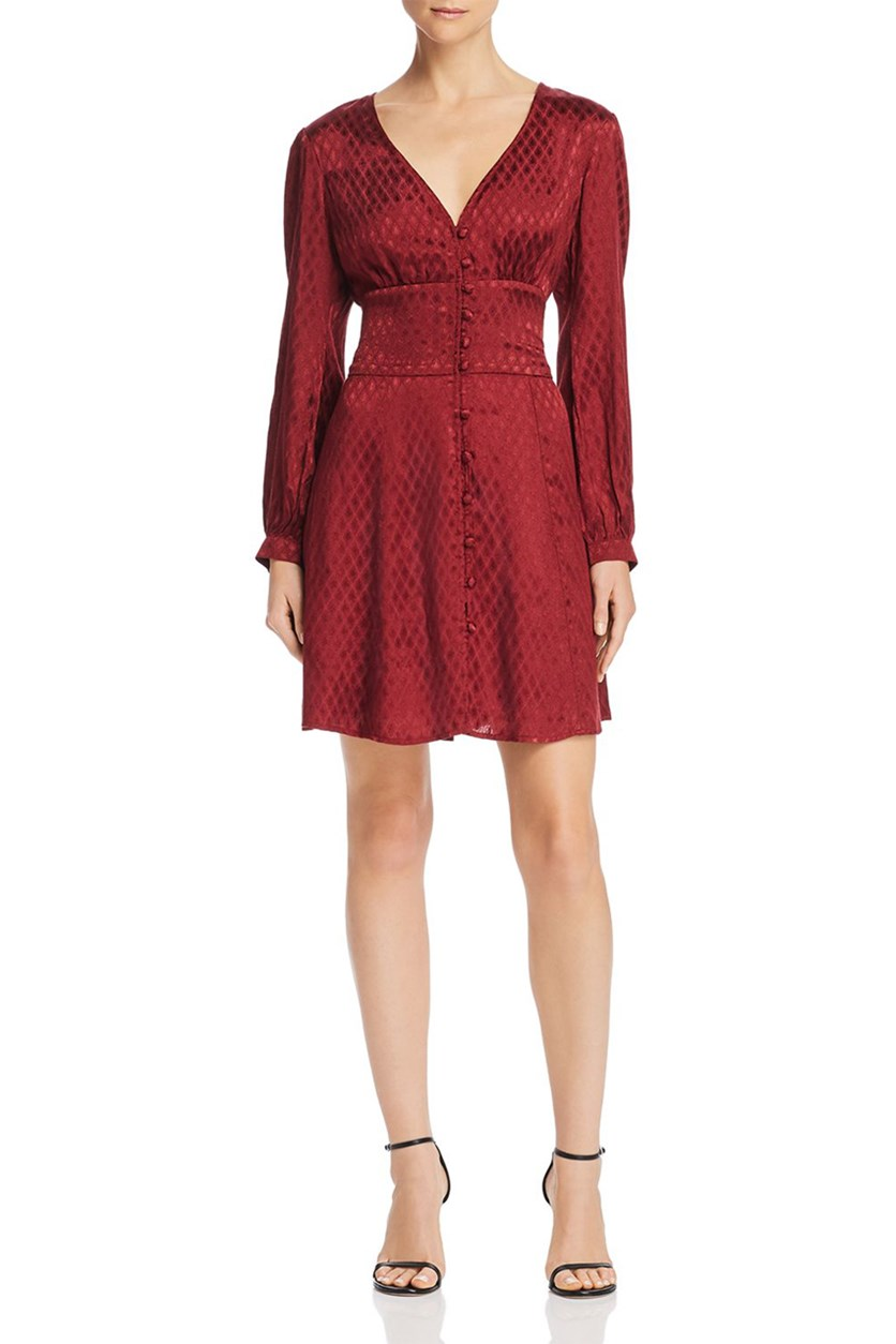 Womens Skylar Paisley Mini Dress, Garnet