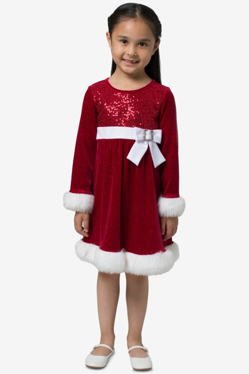Toddler Girls Santa Dress, Red