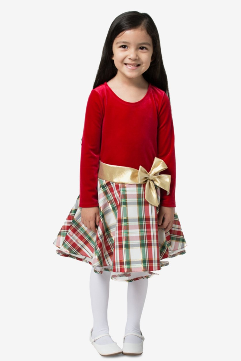 Toddler Girls Plaid Dress, Red