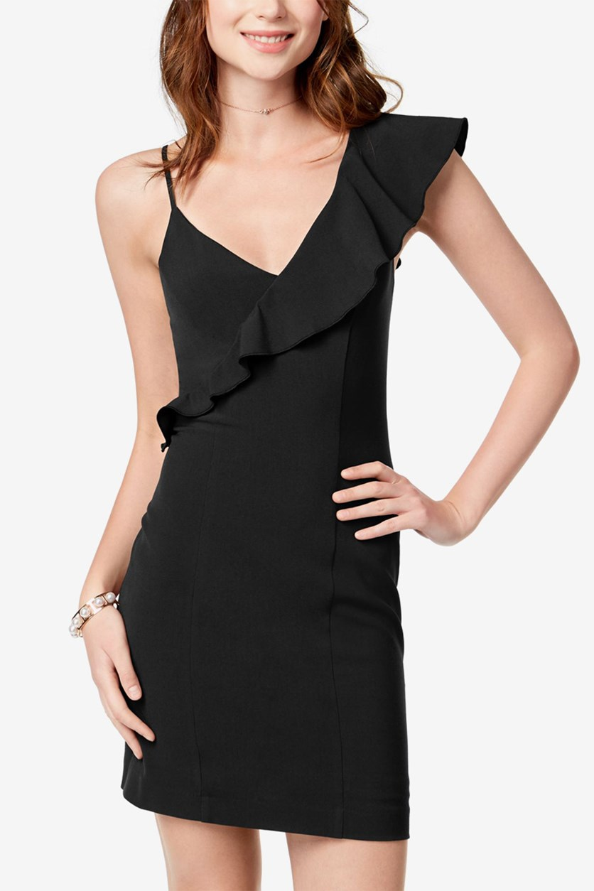Juniors' One-Shoulder Bodycon Dress, Black