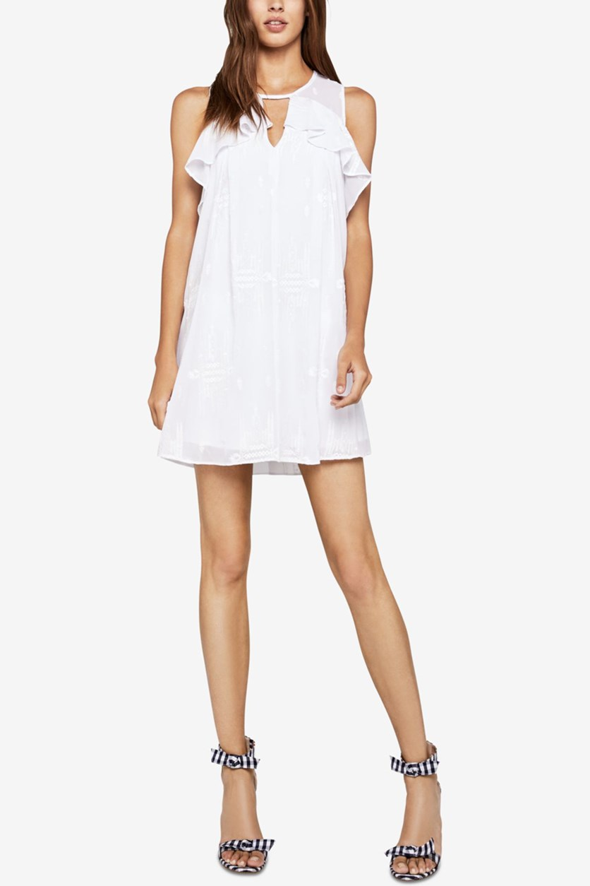 Womens Ruffled Embroidered Mini Dress, Optic White
