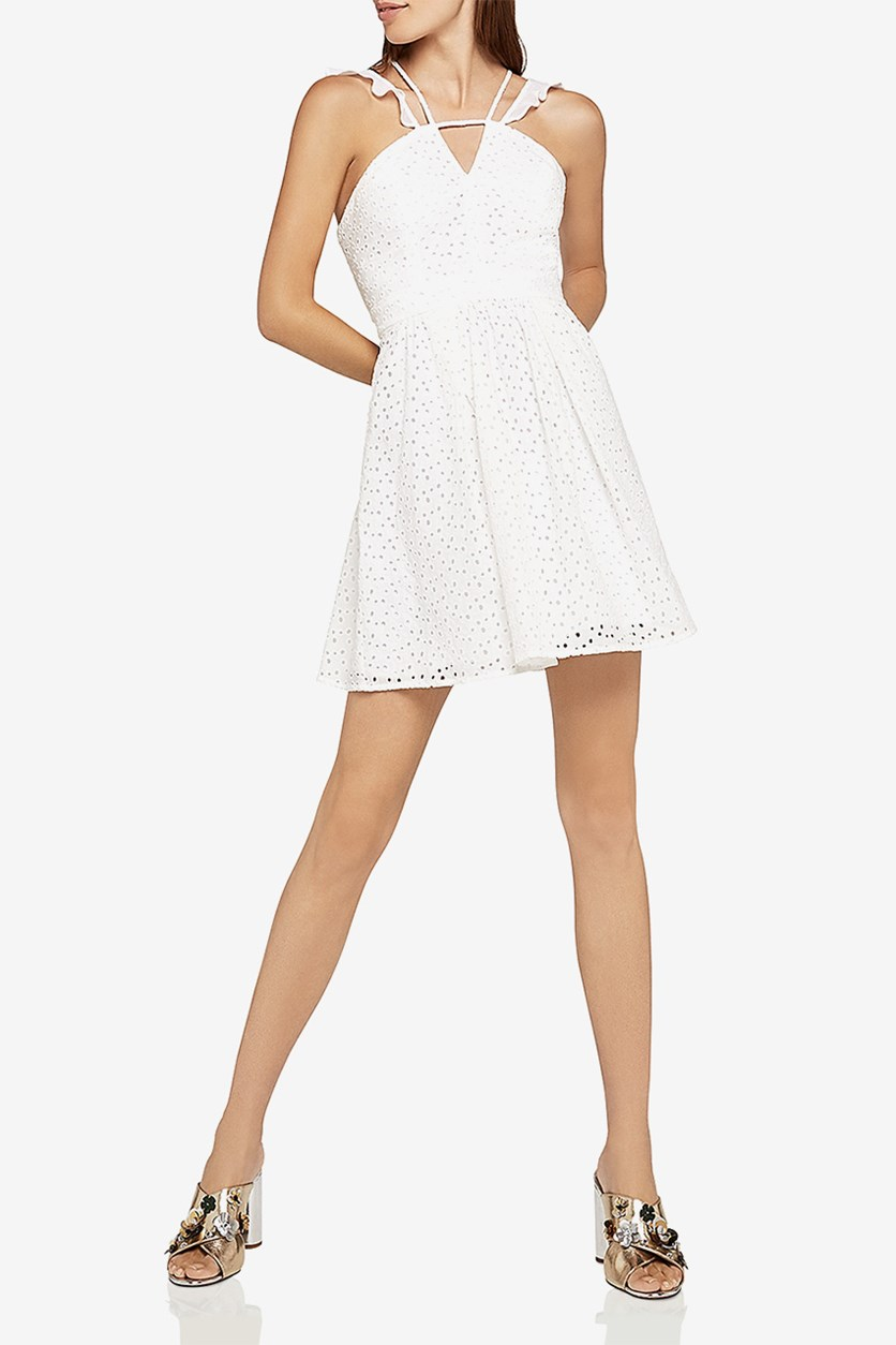 eneration Strappy Eyelet Fit-and-Flare Dress, Optic White