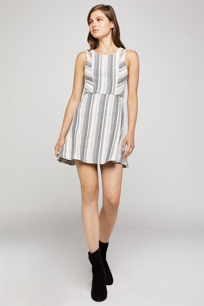 Variegated Stripe Swing Dress, Black/Ivory