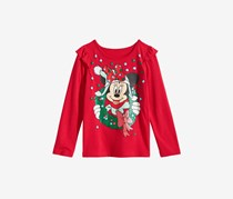 Little Girls Minnie Mouse Wreath T-Shirt, Red