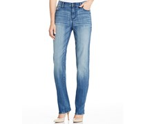 DKNY Women's Straight-Leg Mid-Rise Jeans, Washed Blue