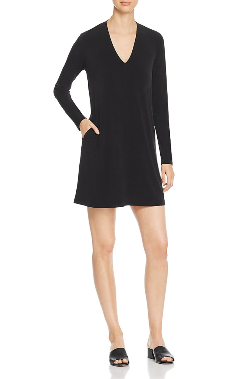 Women's V-Neck Shift Casual Dress, Black