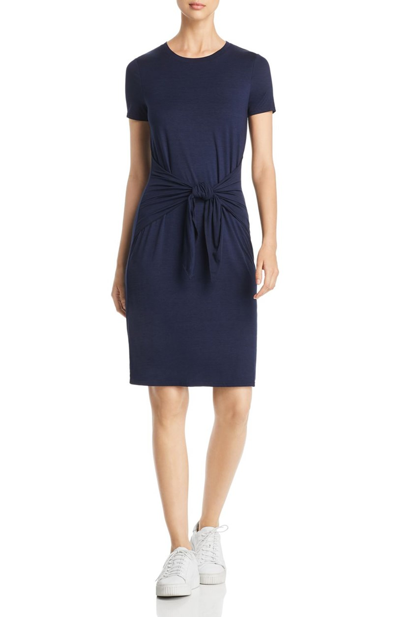 Women's Tie Front Short Sleeve Shirtdress, Navy Blue