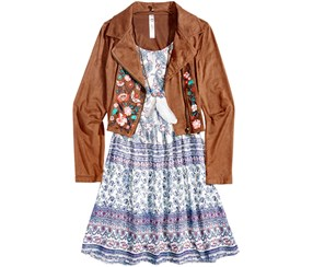 Beautees Girl's 2-Pc. Embroidered Jacket & Dress, Brown