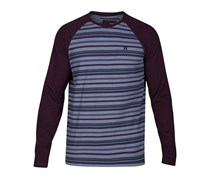 Hurley Men's Stripe Thermal Knit Raglan Sleeve T-Shirt, Grey