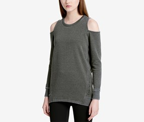 Calvin Klein Women's Distressed Cold-Shoulder Sweatshirt, Olive
