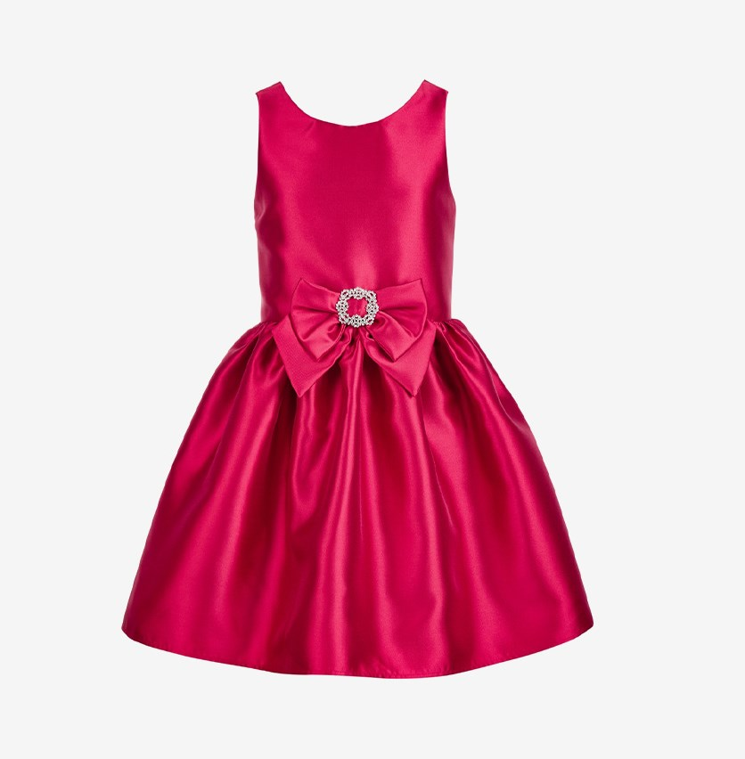 Big Girls Bow-Trim Satin Dress, Red