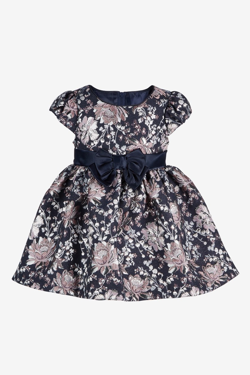 Baby Girls Floral-Brocade Dress, Navy