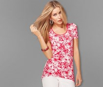 Women's Viscose shirt, coral with allover print