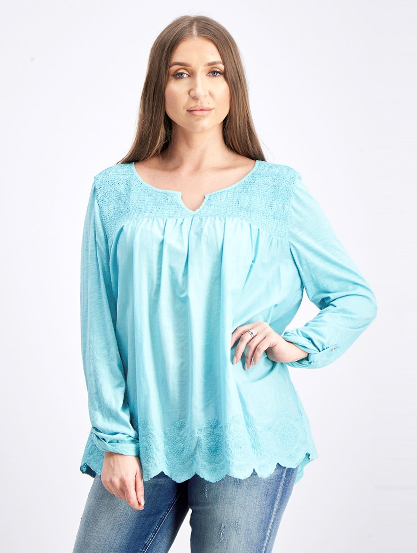 Women's Long Sleeve Scalloped Hem Top, Turquoise