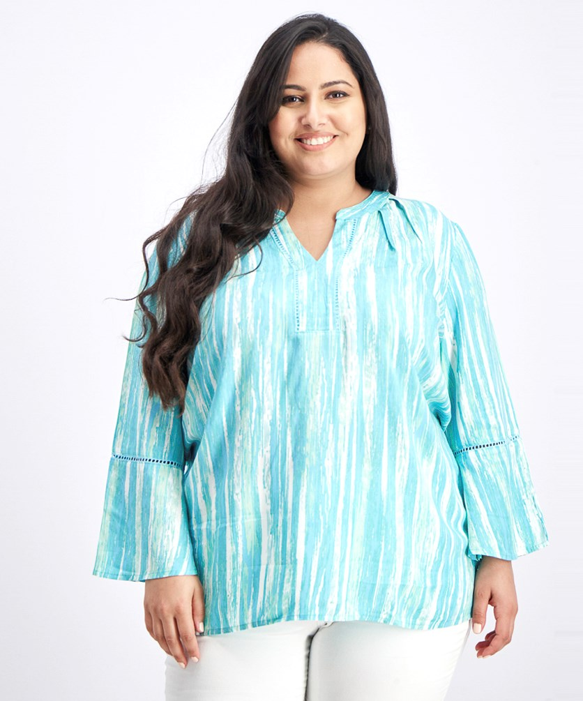 Women's All Over Print Blouse, Turquoise Combo