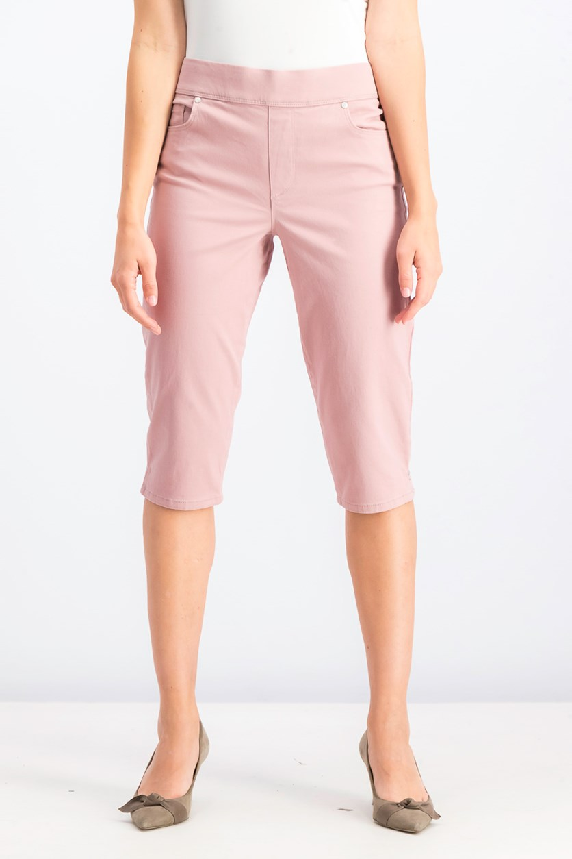 Women's Pull On Cropped Pants, Wood Rose