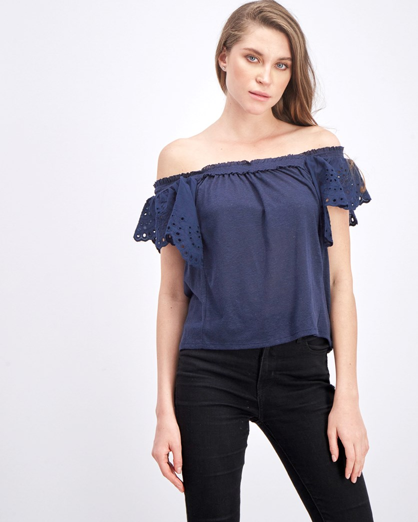 Women's Off Shoulder Top, Navy Blue