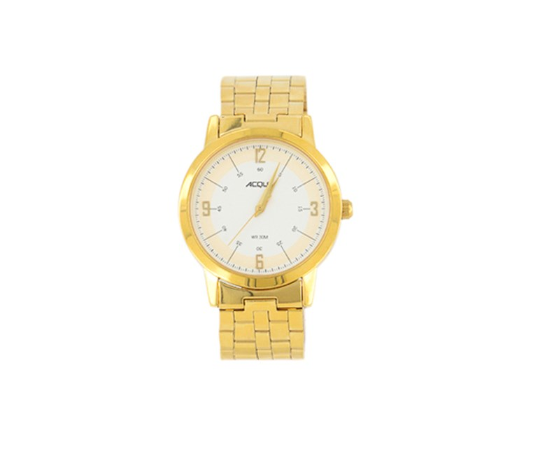 Men's Analog Round Watch, Gold