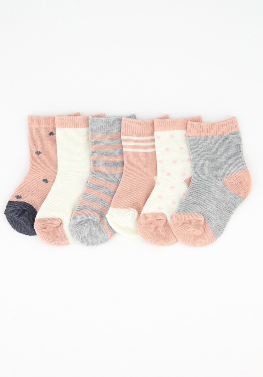 Toddlers 6 Pairs of Socks, Pink/Grey