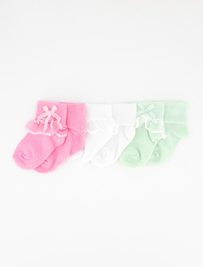 Toddlers 6 Pairs Fancy Socks, Pink/Light Green