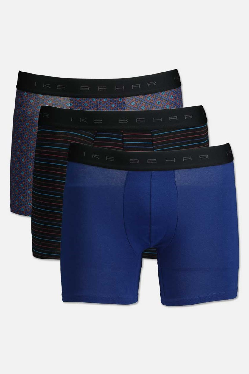 Men's 3 Pack Boxer Briefs, Royal/Black/Royal Combo