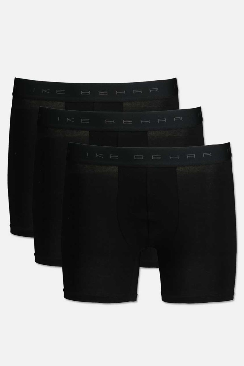 Men's Cotton Stretch Comfort & Performance 3 Pack Boxer Brief, Black