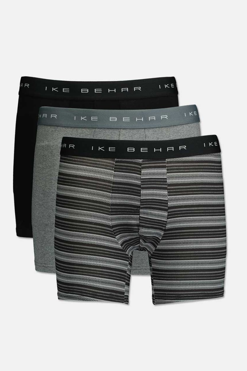 Men's Cotton Stretch Comfort & Performance 3 Pack Boxer Brief, Black/Gray/Charcoal Combo