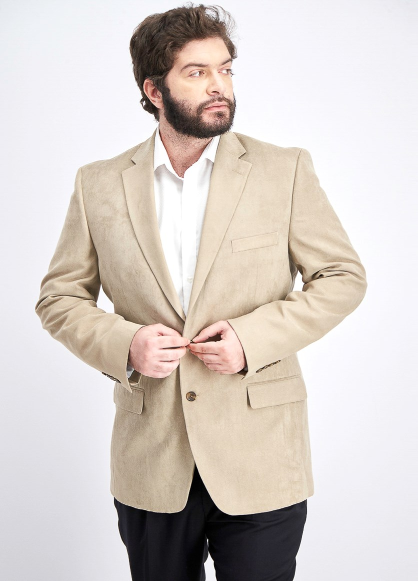 Men Micro Suede  Blazer, Tan