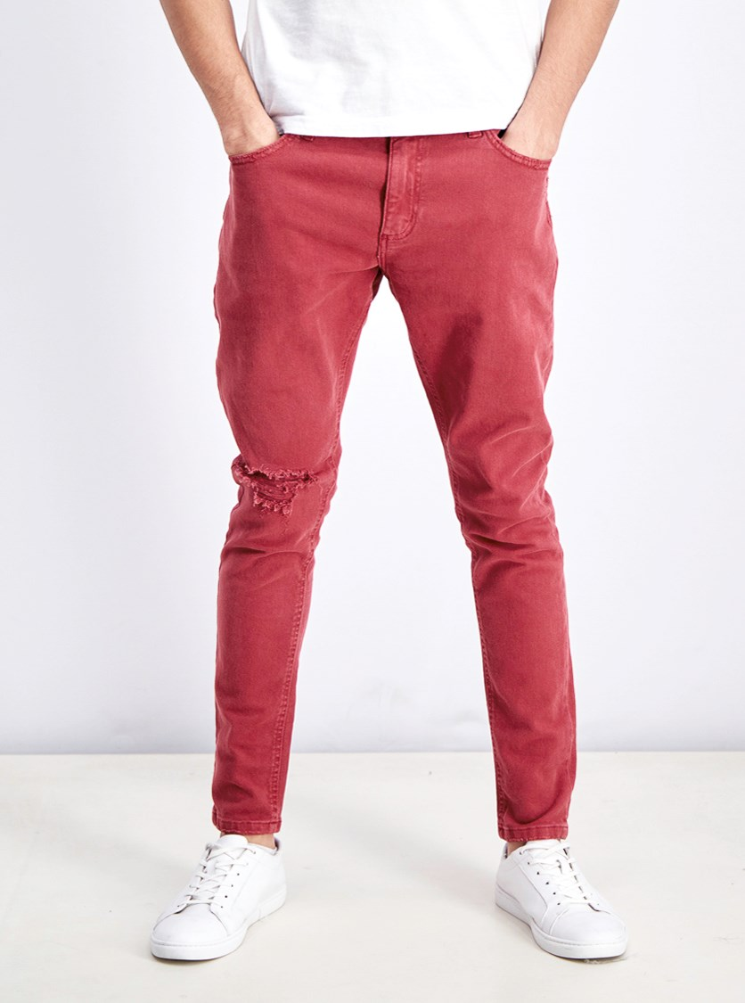Men's Super Skinny Ripped Jeans, Maroon