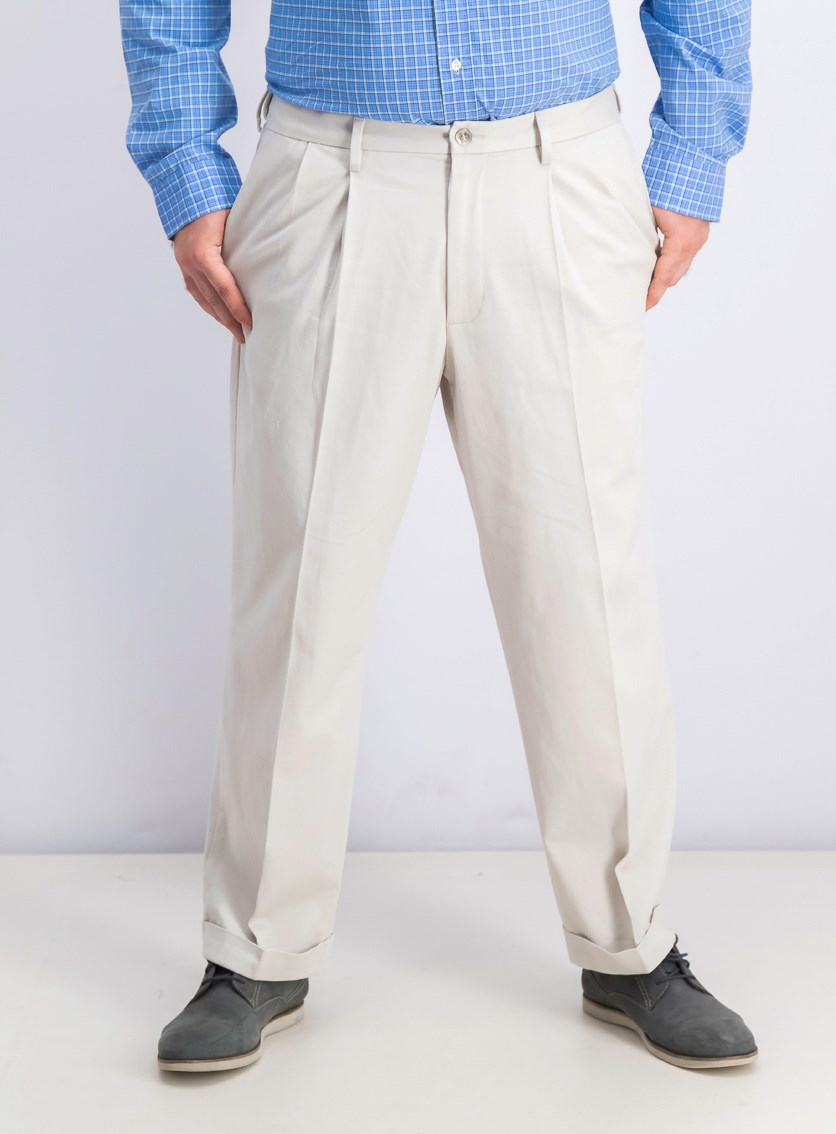 Relaxed Fit Comfort Pleated Pants, Porcelain Khaki