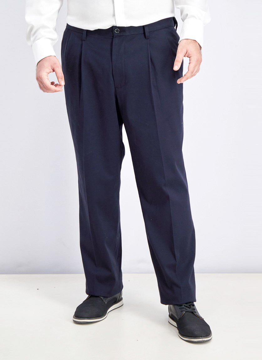 Men's Relaxed Pleated Fit Pants, Navy