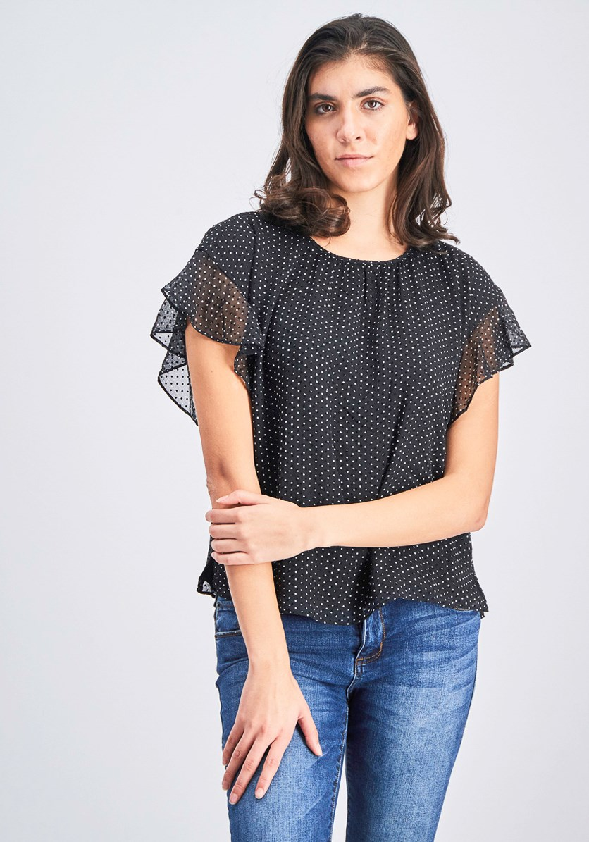 Women's Flutter Sleeve Polka Dot Blouse, Black/White