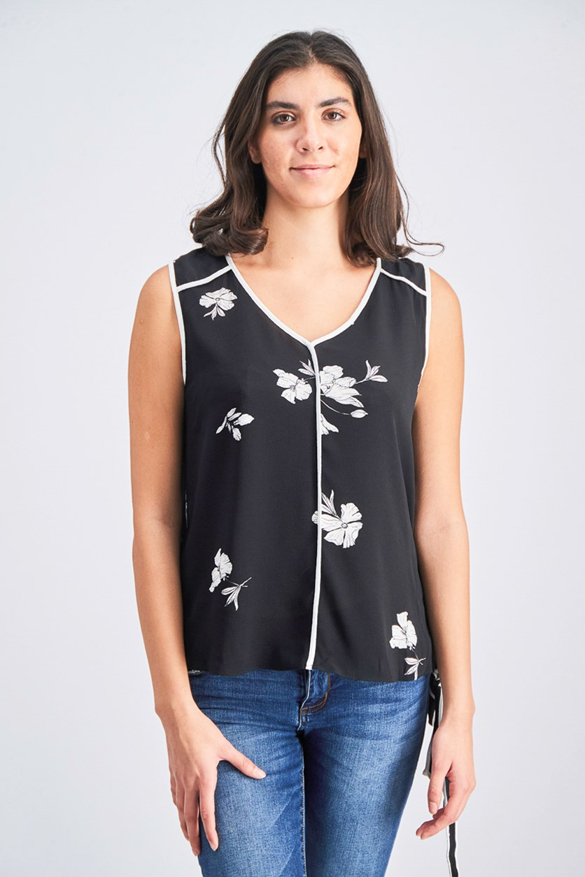 Womens Top with Tie Front, Black/White