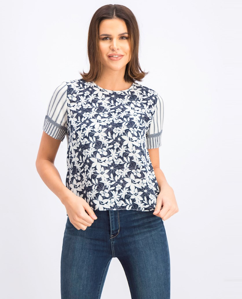 Women's Short Sleeve Floral Lace Mix Print Blouse, Classic Navy