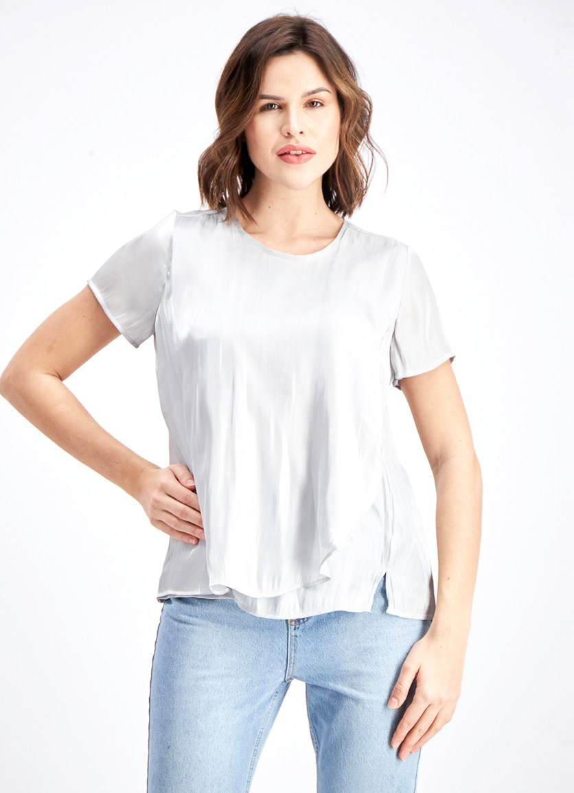Women's Iridescent Double-Layer Top, Silver Dust