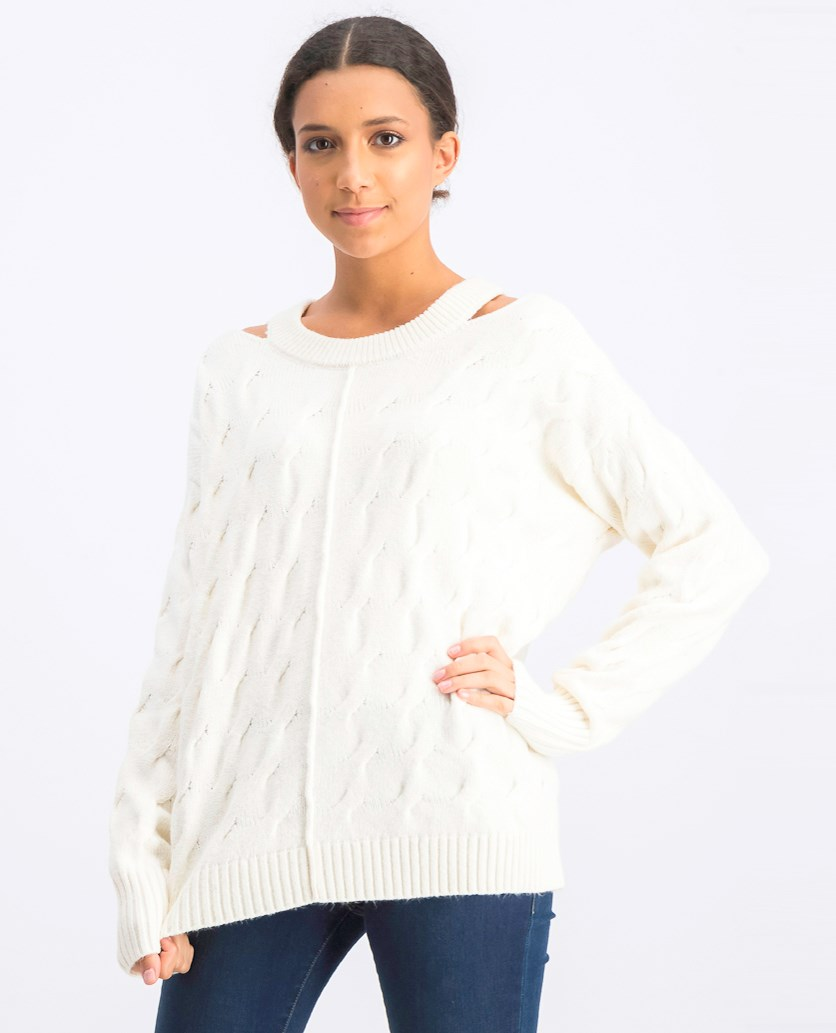 Women's Cable Knit Cut Out Pullover Sweater, Cream