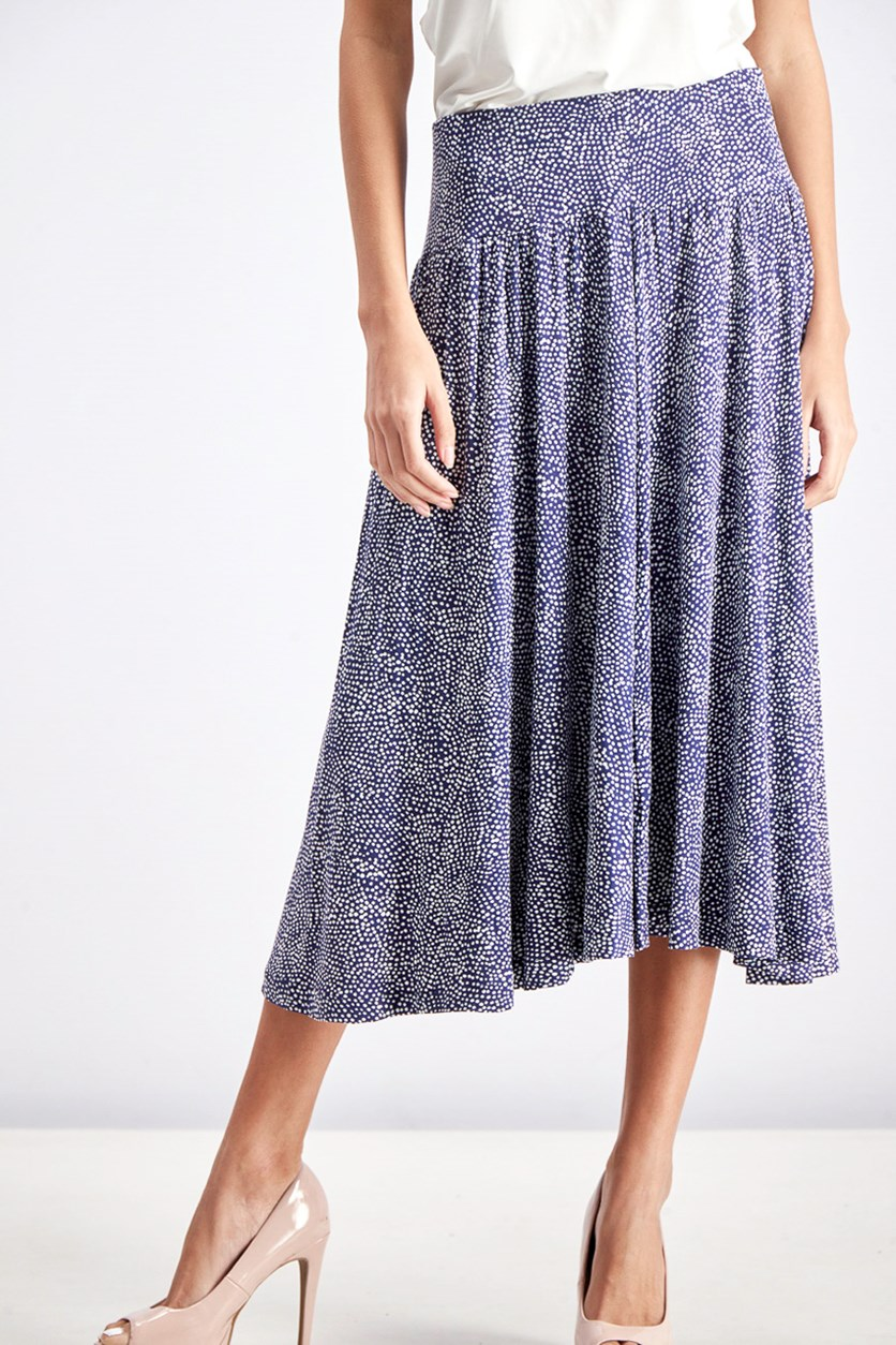 Women's Polka Dots Maxi Skirt, Navy/White